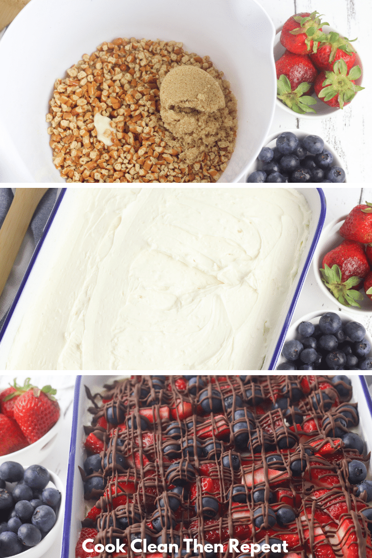 Cheesecake being made in three images. First one shows crust, second shows filling and third shows toppings.