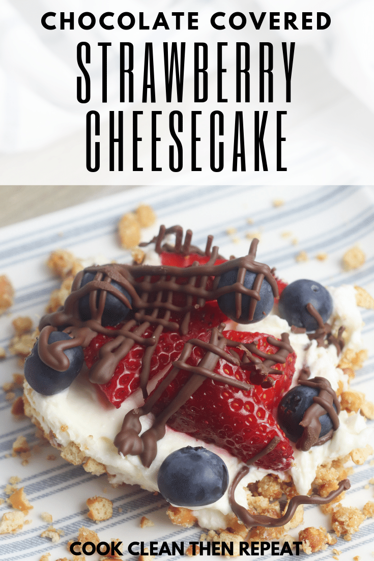 pin image that shows cheesecake finished and served up to eat with title at the top in black lettering