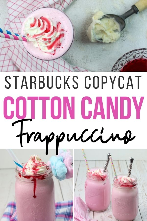 Pin showing the finished cotton candy frappuccino recipe ready to drink.