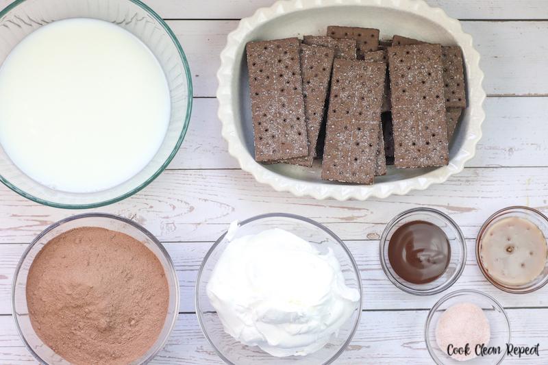 Ingredients needed to make chocolate pudding cake recipe.