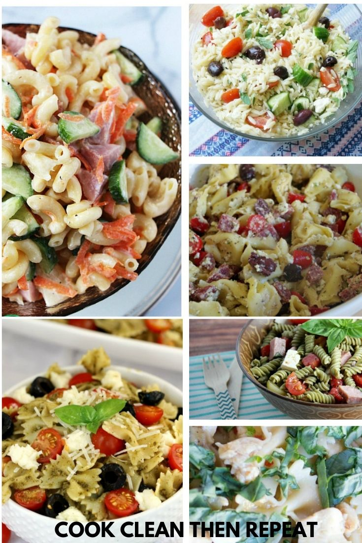 collage of pasta salad images with no text.
