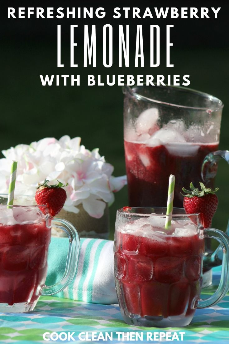 We all need a refreshing drink on a hot day. Why not have it be this delicious strawberry lemonade with blueberries! A tasty drink packed with antioxidants!