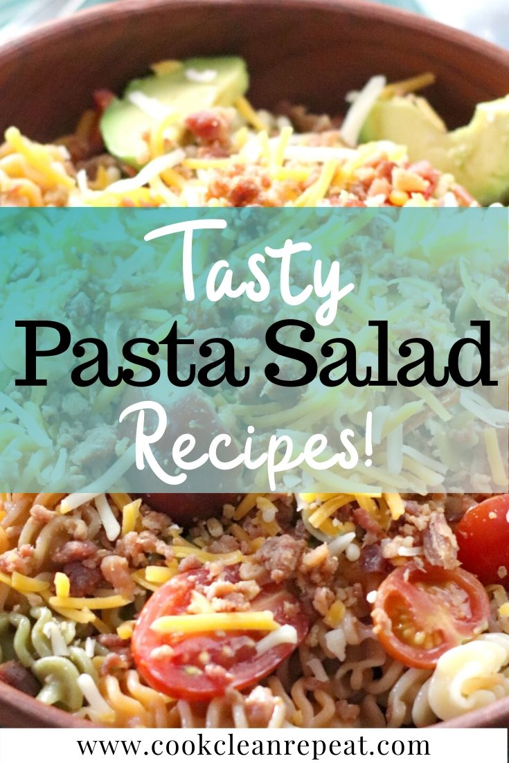 Tasty Pasta salad recipes pin with title in the middle and then finished salad in the background.