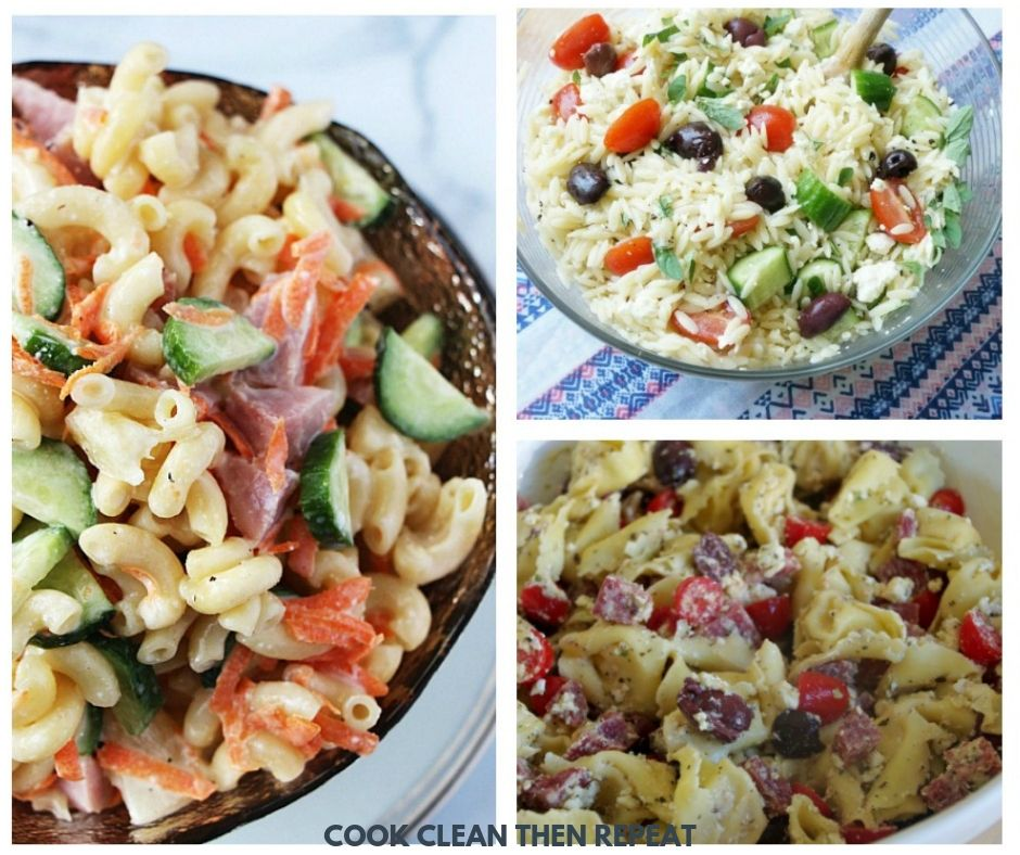 image with three different pasta salads shown.