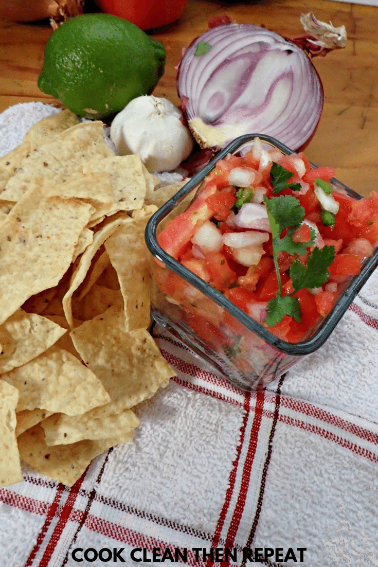 finished pico in a square glass dish.