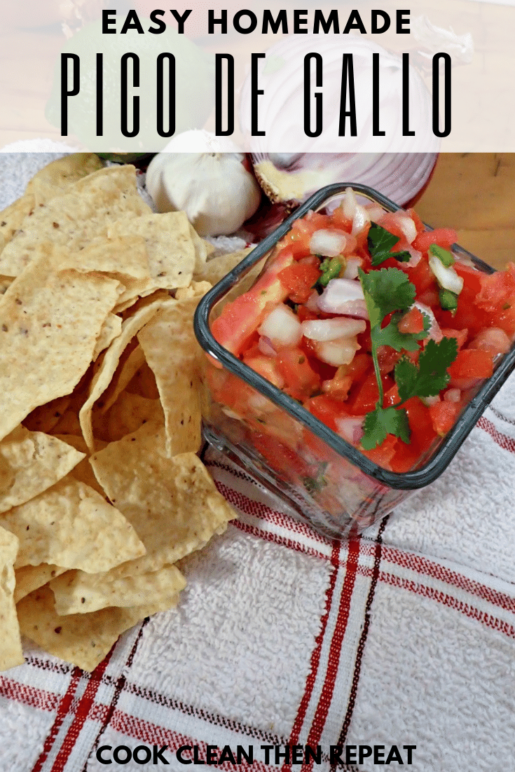pin that shows finished pico de Gallo with chips and garlic and top has white bar with black wording that shows title.