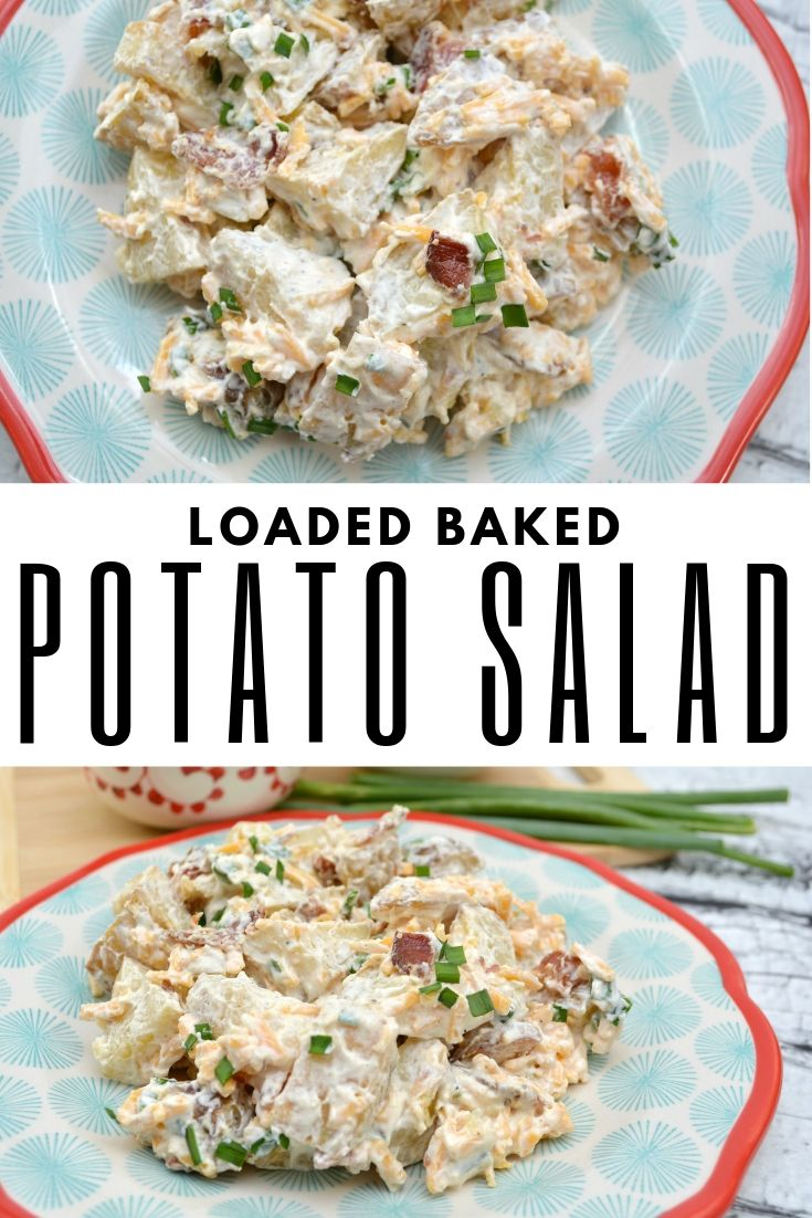 loaded baked potato salad in two photos finished and title in the middle.