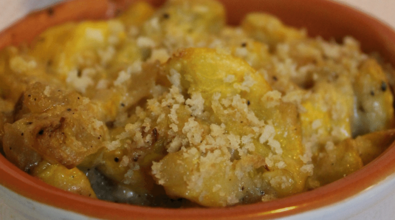 Serving of yellow squash recipe in a dish. Summer squash casserole in a white dish with orange interior.