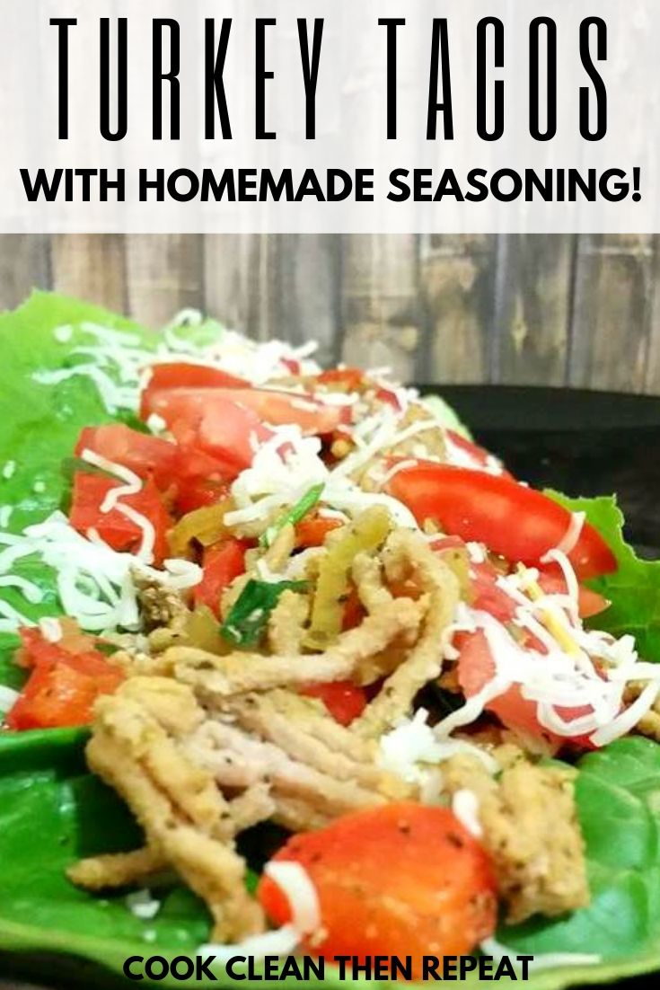 Quick and easy turkey tacos with two images of finished tacos ready to eat.