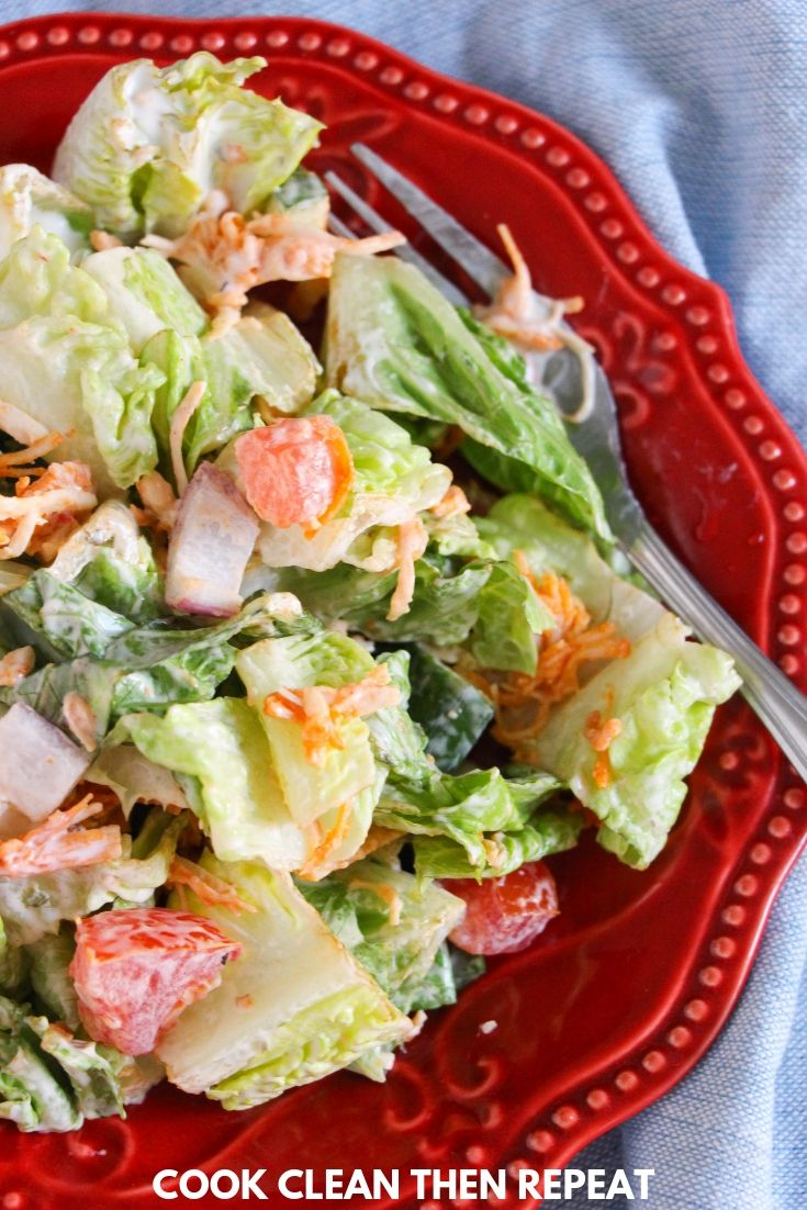 Long image showing finished buffalo chicken salad on a red plate.