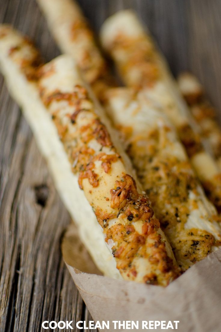 Close up of finished baked breadsticks.