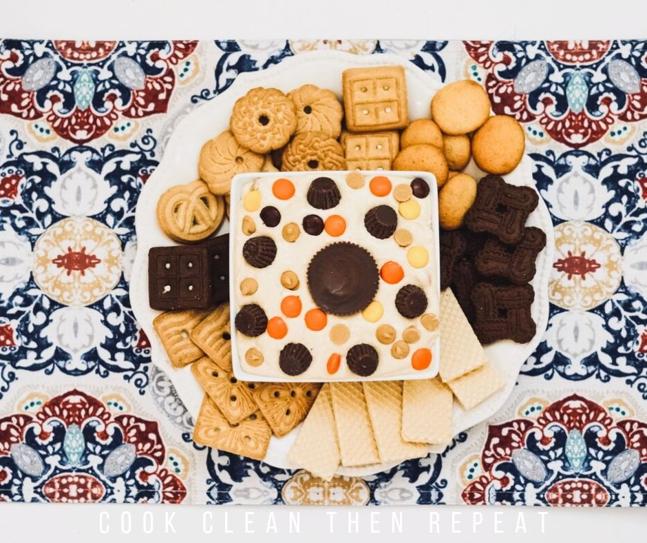 View from the top down of the dip surrounded by cookies.