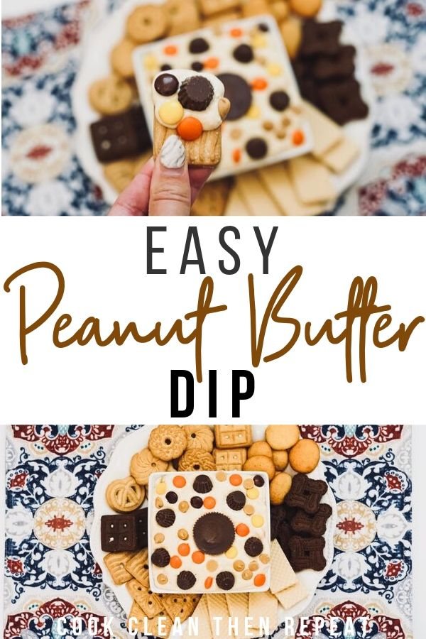 Pin showing finished peanut butter dip ready to eat with title in the middle of two photos.