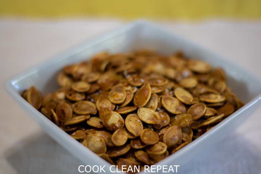 A close up view of the finished maple roasted pumpkin seeds.