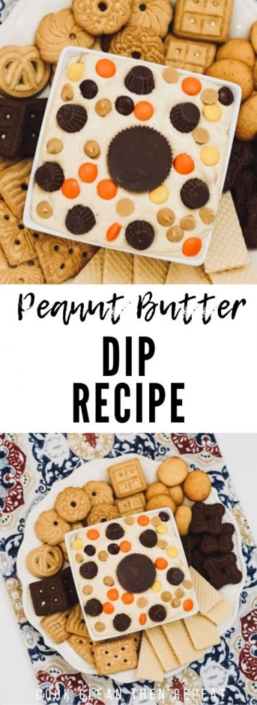 Peanut butter dip recipe pin showing the finished dip and title in the middle.