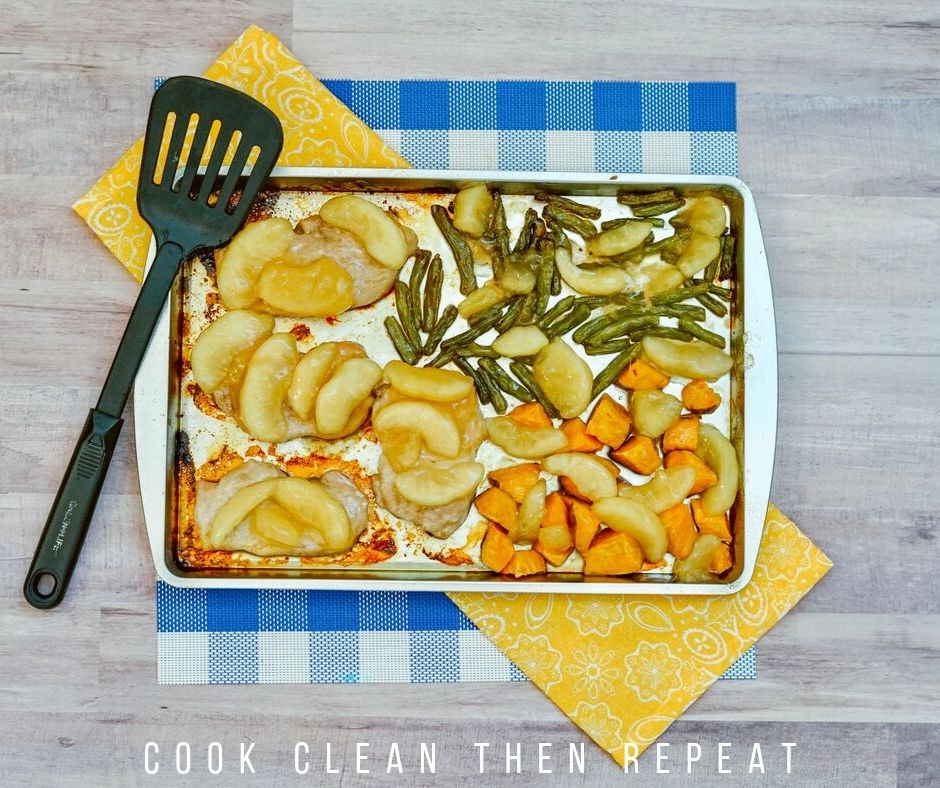 Sheet pan dinner ready to to enjoy.