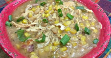 White chicken chili in a bowl ready to eat!