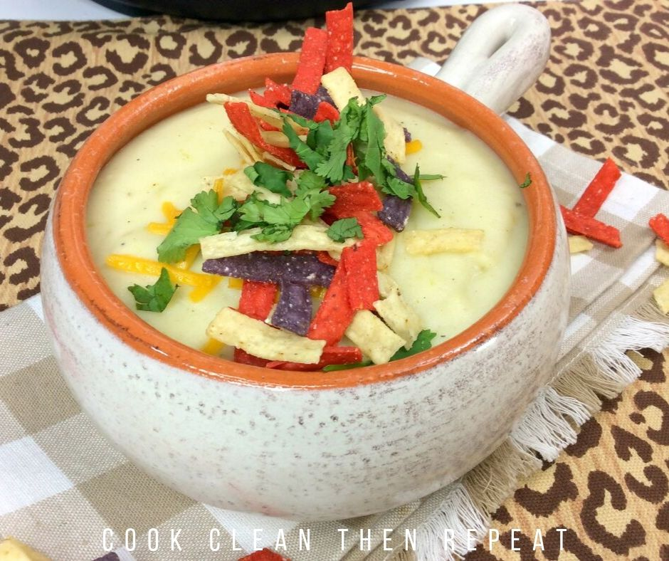 Side view of one serving of this creamy cauliflower soup recipe.