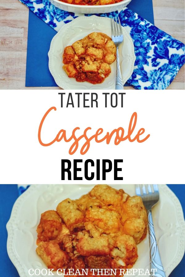 Pin for tater tot casserole recipe