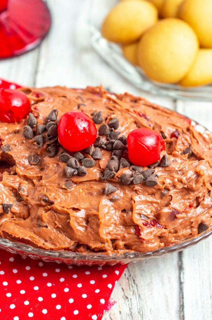 A view of the finished cherry chocolate cheesecake dip in a dish ready to be shared.