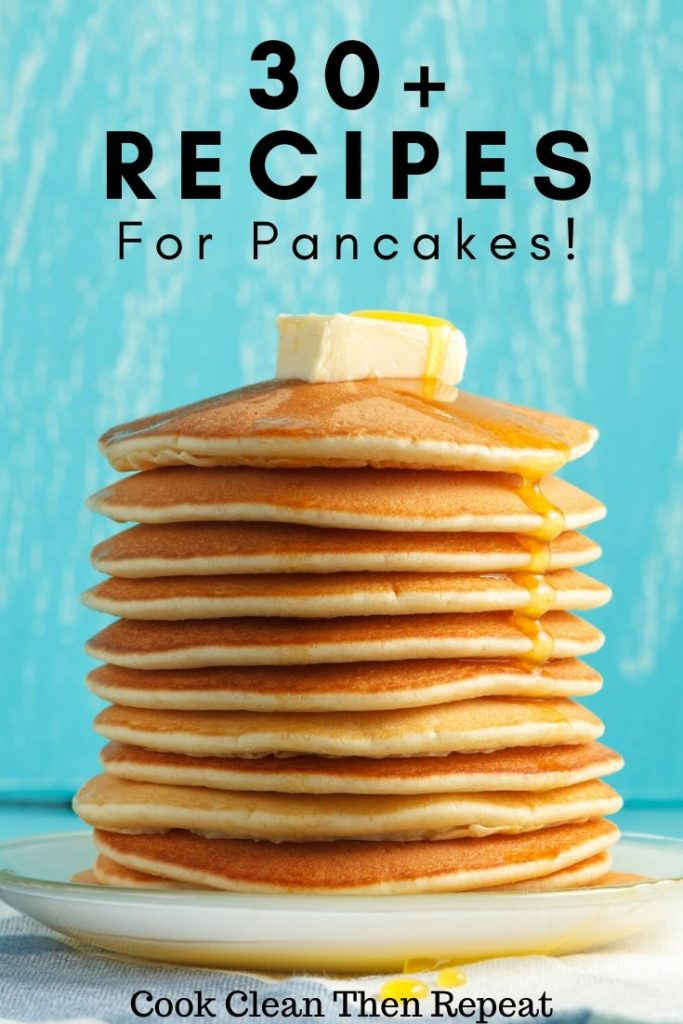 stack of pancakes with title at the top.