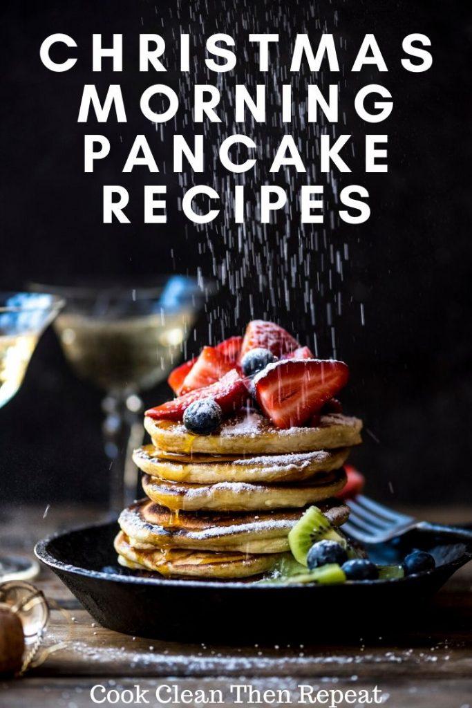 darker style Christmas morning pancakes pin