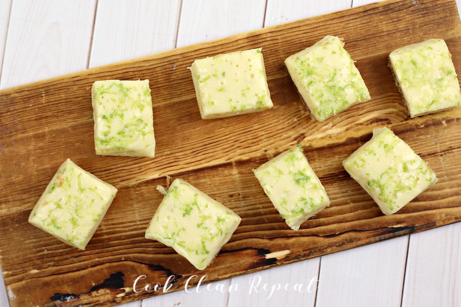 Top down view of a tray of key lime pie fudge.