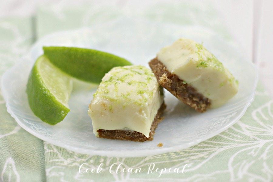 Some pieces of the key lime pie fudge finished on a tray ready to eat.