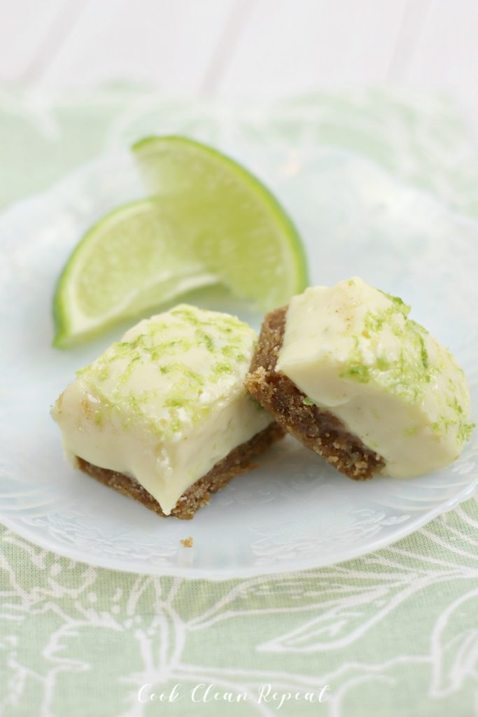 Fudge on a tray with the limes in the background.