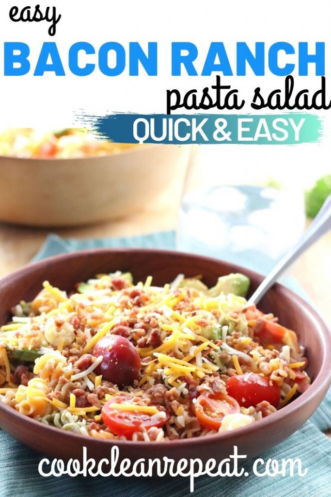 The pin for bacon ranch pasta salad recipe with photo of the finished product.