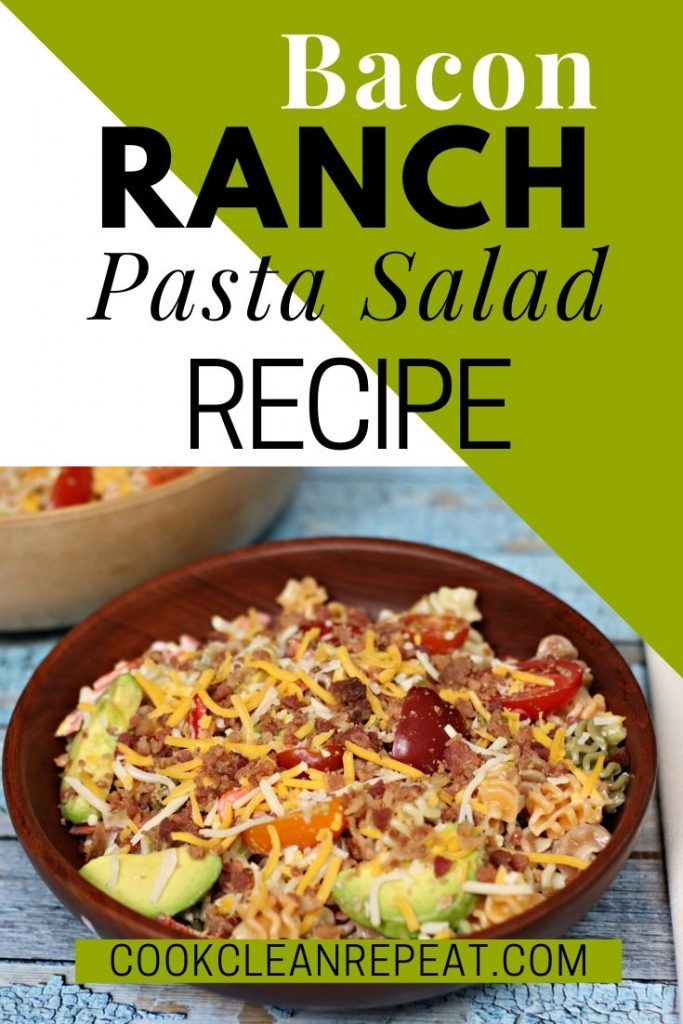 Another pin showing the finished recipe for bacon ranch pasta salad!