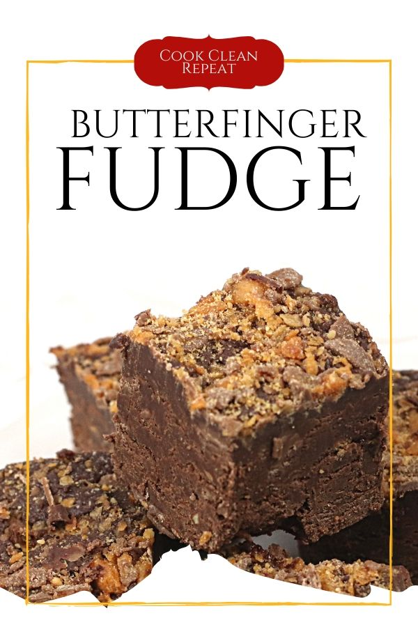 Another pin which shows the post title and the finished fudge ready to be served.