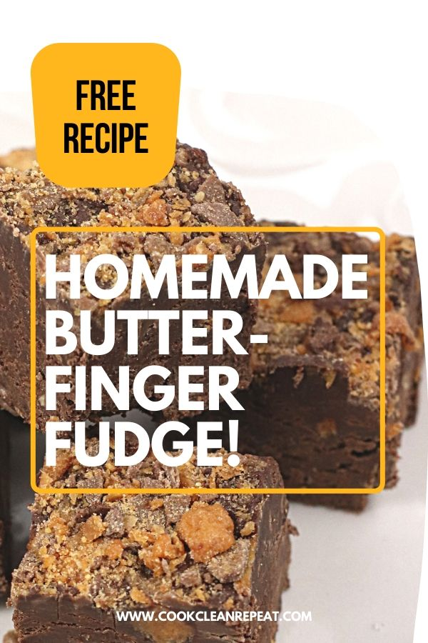 The final pin for this homemade butterfinger fudge recipe.