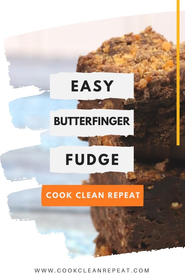 Pin for butterfinger fudge finished and ready to be served.