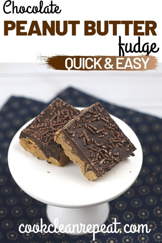Another pin showing the finished fudge and the title at the top.