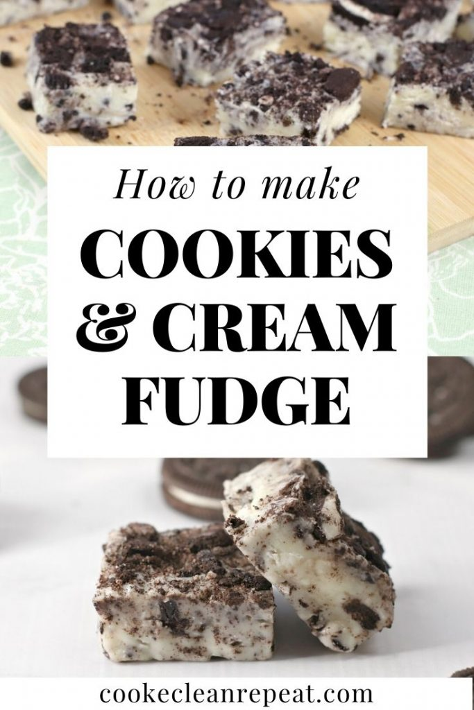Pin showing how to make cookies and cream fudge recipe.