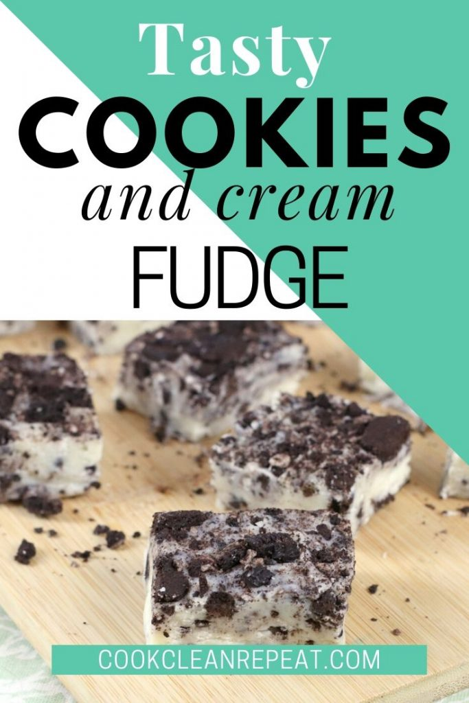 A final pin showing the finished cookies and cream fudge with title at the top and image at the bottom.