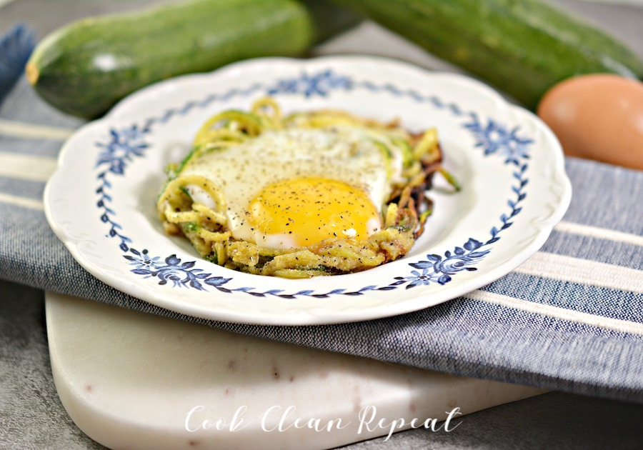 Featured image shows the finished keto zucchini egg nests