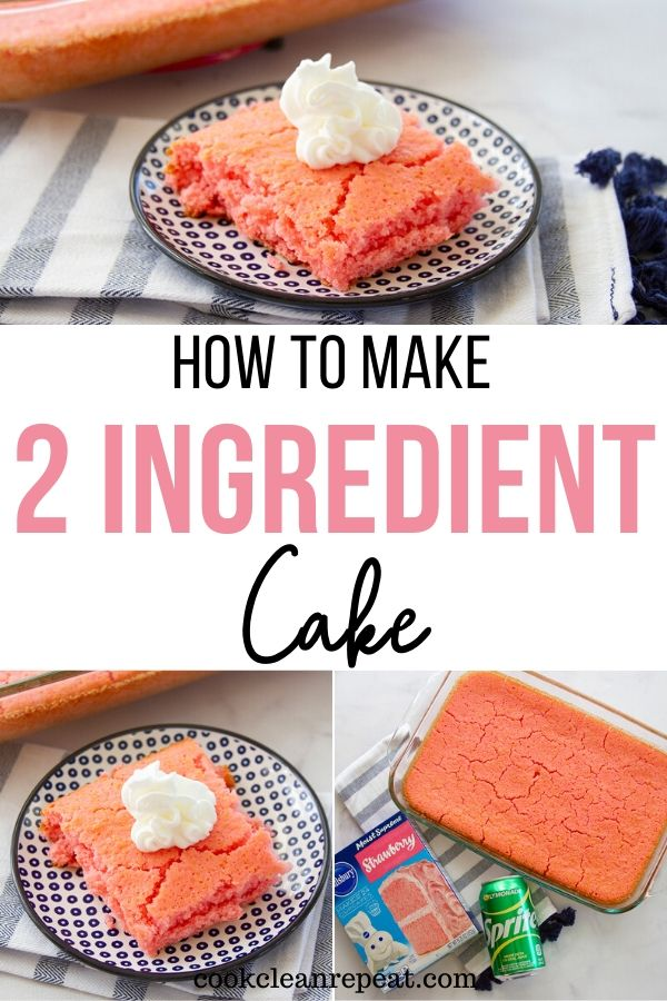 A pin showing the finished 2 ingredient cake recipe with title in the middle.