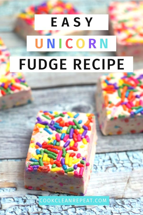 Unicorn Fudge Recipe Pin showing the finished unicorn dessert and the title at the top