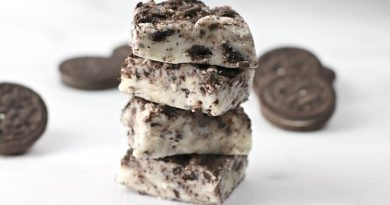Featured image showing the finished cookies and cream fudge recipe.