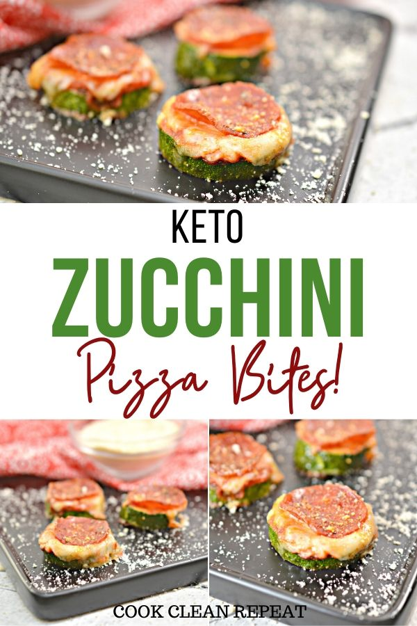 One of the gorgeous pins for the keto zucchini pizza bites.
