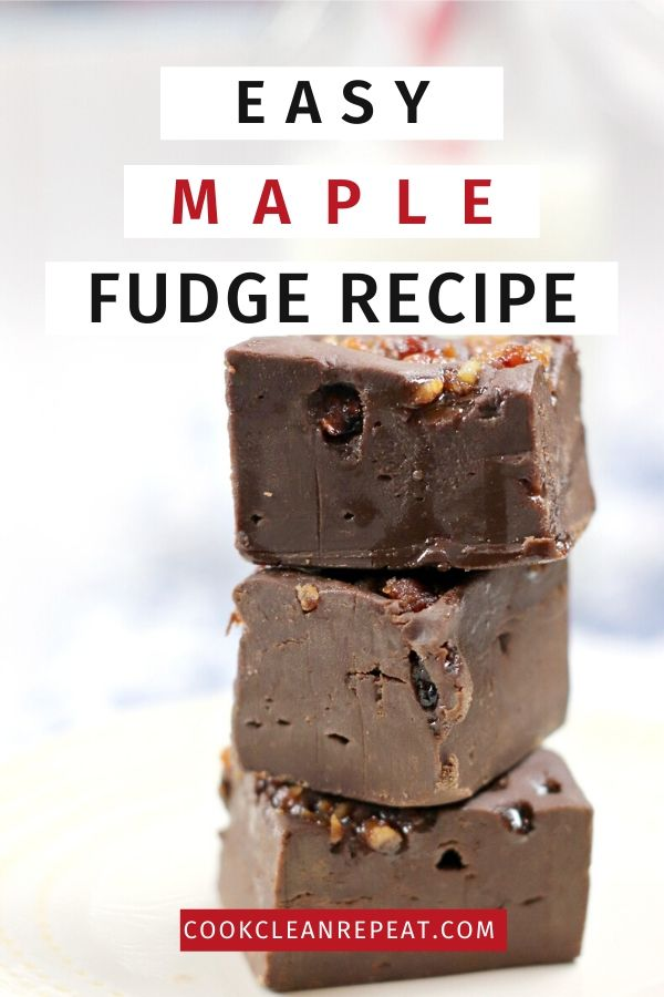 The pin for easy maple fudge recipe.