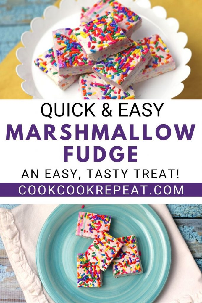 Quick and Easy marshmallow fudge recipe pin with final images and title in the middle.