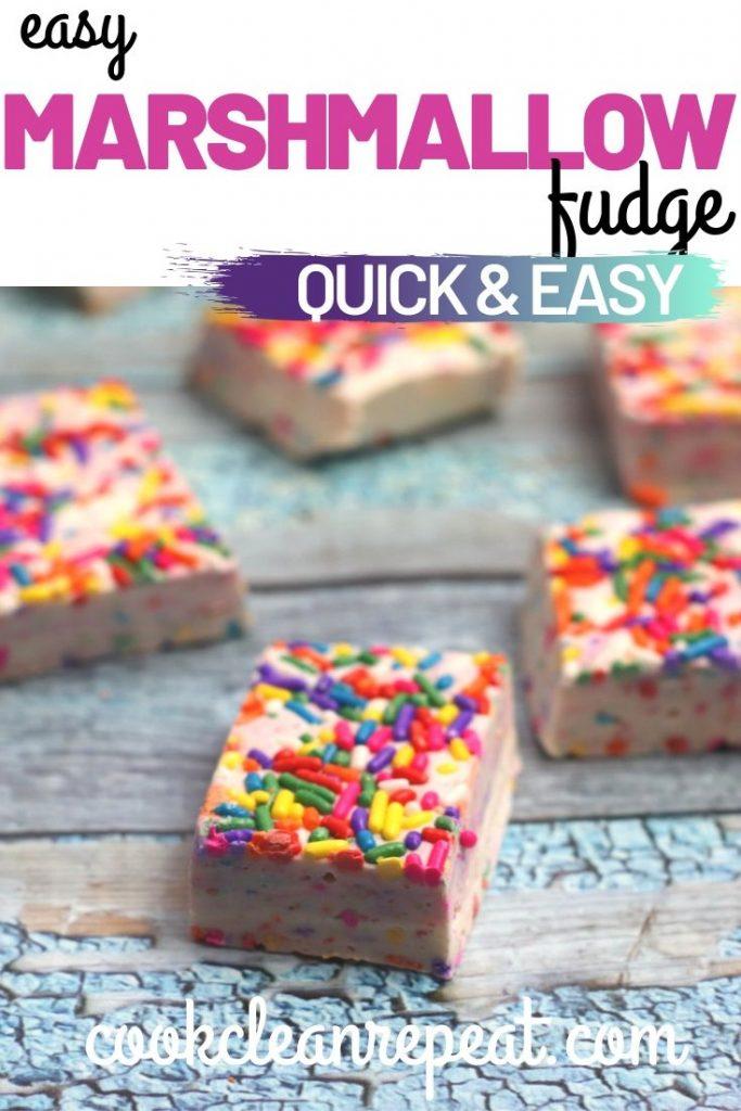 Quick and easy marshmallow fudge recipe pin