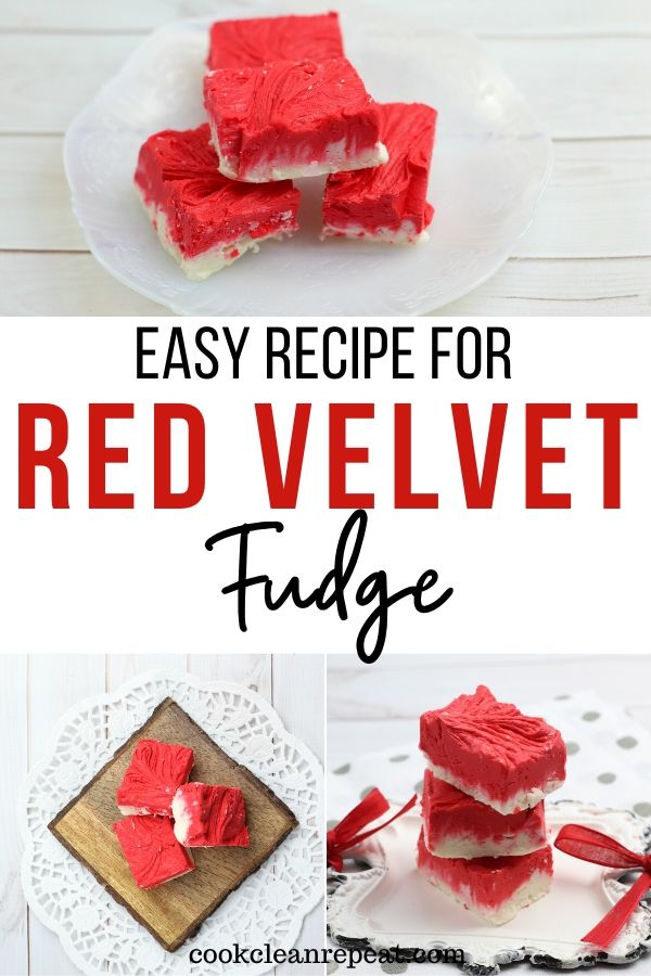 Another pin for the red velvet fudge recipe with finished images.