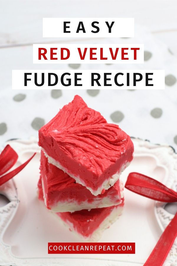 A final pin showing the title in blocks at the top and the red velvet fudge below.