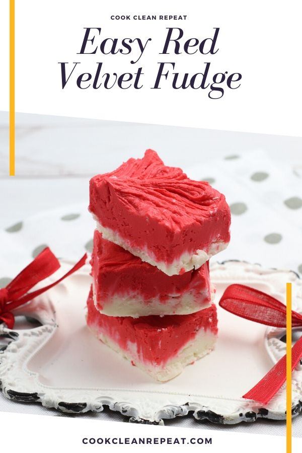 A pin showing the finished red velvet fudge