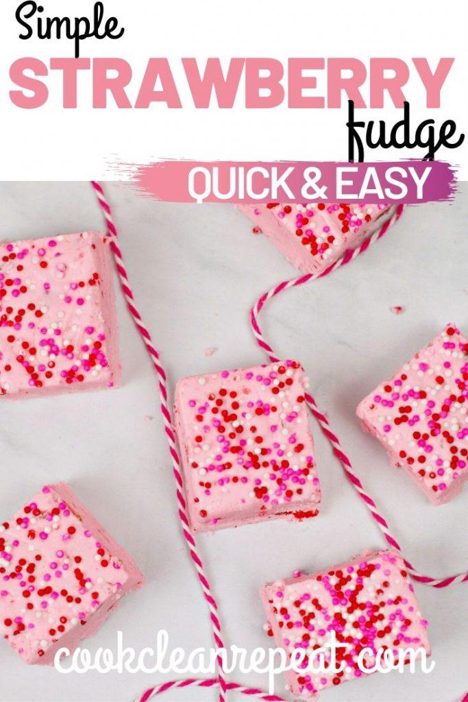 Pin for the strawberry fudge recipe.