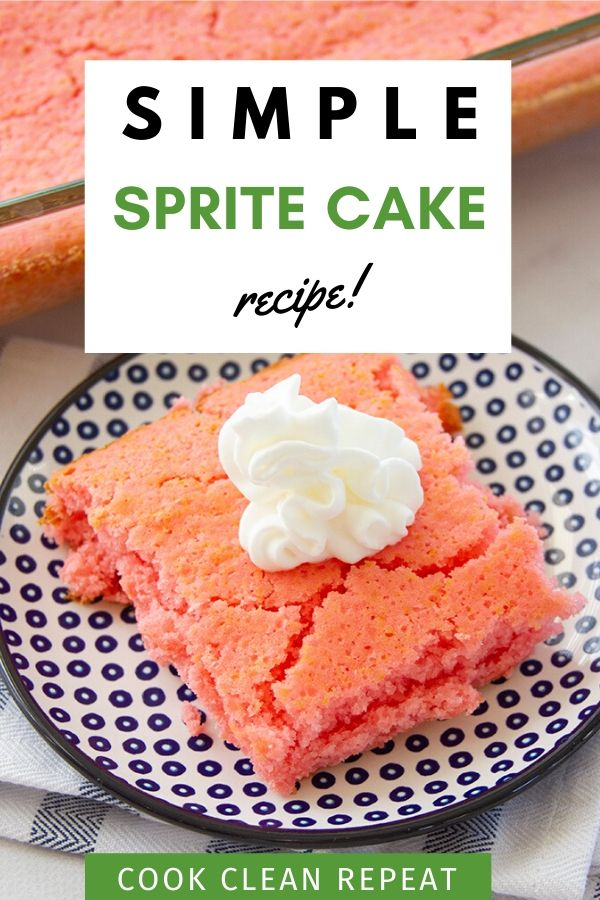 A beautiful pin showing the finished simple sprite cake recipe.
